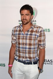 Janko Tipsarevic wore a classic plaid button-down shirt to the Taste of Tennis event.