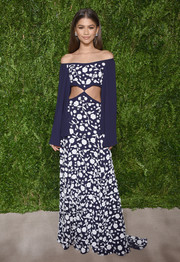 Zendaya Coleman donned a classic-meets-modern off-the-shoulder floral cutout gown by Michael Kors for the CFDA/Vogue Fashion Fund Awards.