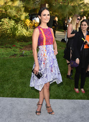 Jordana Brewster dazzled in a multicolored mixed-print frock by Peter Pilotto during the Chrysalis Butterfly Ball.