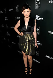 Ginnifer Goodwin sparkled at the Costume Designers Guild Awards in black Swarovski crystal encrusted Zafira platform sandals.