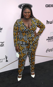 Danielle Brooks completed her outfit with bejeweled white Mary Janes by Kurt Geiger.