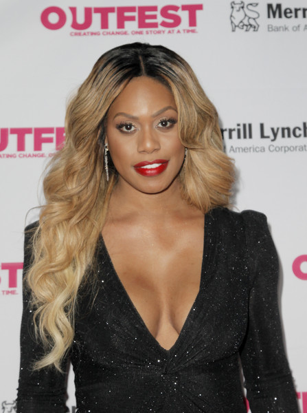 Laverne Cox wore her hair down in luxuriant waves at the Outfest Legacy Awards.