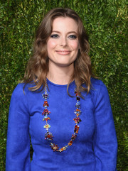 Gillian Jacobs' multicolored gemstone necklace was the perfect finishing touch to her simple blue dress at the CFDA/Vogue Fashion Fund Awards.