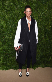 Jenna Lyons continued the casual vibe with a pair of black-and-white tassel loafers.
