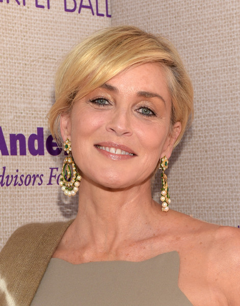 Sharon Stone wore her blonde hair short and straight with a side part during the Chrysalis Butterfly Ball.