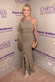 Sharon Stone paired her sexy-glam gown with a metallic gold box clutch.