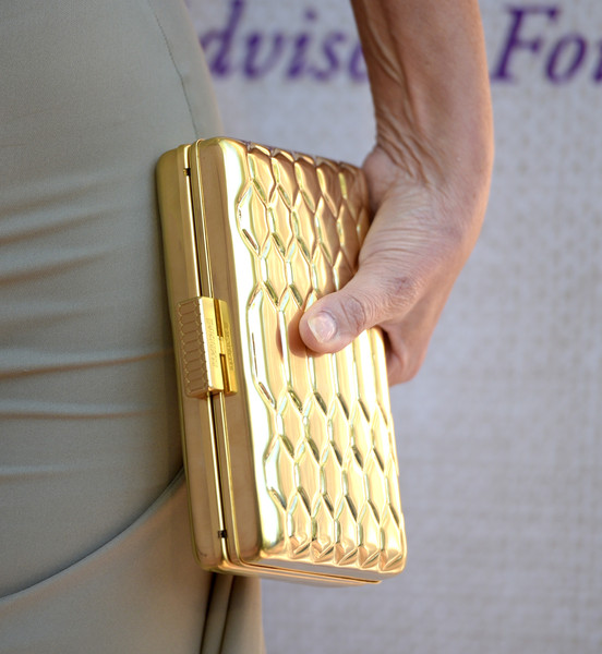 More Pics of Sharon Stone Cutout Dress (1 of 12) - Sharon Stone Lookbook - StyleBistro [material property,fashion accessory,wallet,metal,lauren b. beauty,kayne anderson,sharon stone,gallerie,red carpet,purse details,california,audi,chrysalis butterfly ball,z gallerie]