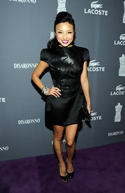 Jeannie Mai looked fierce yet feminine in a patterned leather-panel LBD at the Costume Designers Guild Awards.