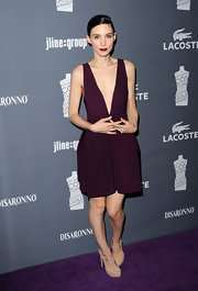 Rooney Mara accessorized her sexy dress with cutout platform sandals.