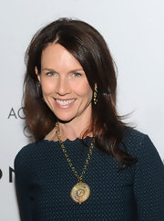 Temple St. Clair wore an 18-carat large Tolomeo pendant with mixed sapphires and diamonds along with Theodora earrings with emerald, blue sapphire and diamonds at the 15th Annual ACE Awards.