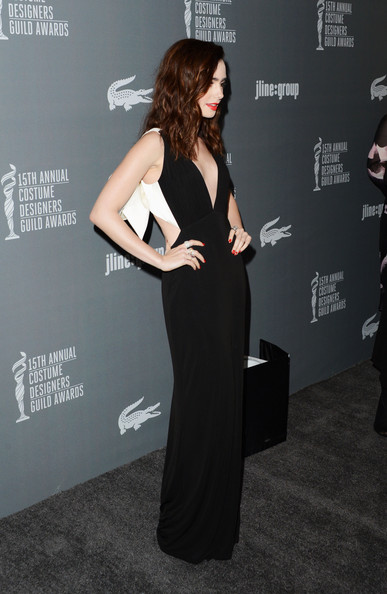 More Pics of Lily Collins Medium Wavy Cut (1 of 20) - Medium Wavy Cut Lookbook - StyleBistro