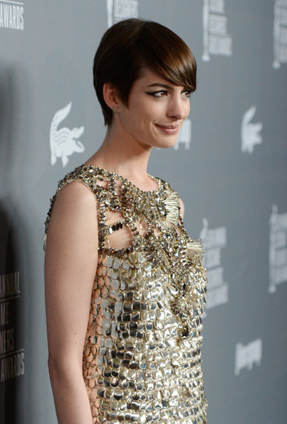 More Pics of Anne Hathaway Beaded Dress (1 of 25) - Beaded Dress Lookbook - StyleBistro