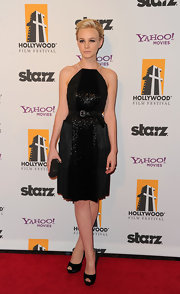 Carey Mulligan looked sensational at the Hollywood Film Awards Gala in a glittering black halter dress. She topped off her look with simple black peep-toe pumps.