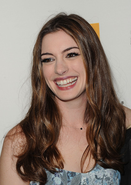 More Pics of Anne Hathaway Long Center Part (1 of 24) - Anne Hathaway Lookbook - StyleBistro
