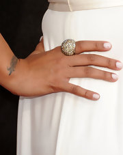 La La Vazquez added major bling to her look with a diamond cocktail ring.