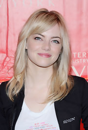 Emma Stone showed off her white blonde locks with this choppy layered 'do and side-swept bangs.