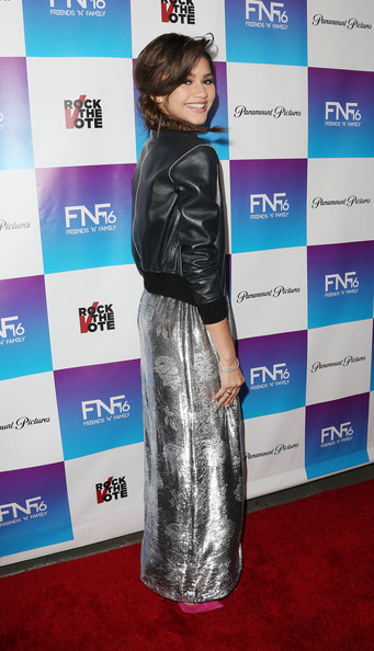 More Pics of Zendaya Coleman Leather Jacket (5 of 5) - Outerwear Lookbook - StyleBistro [clothing,carpet,red carpet,outerwear,flooring,electric blue,dress,jacket,long hair,premiere,arrivals,zendaya coleman,friends n family,california,hollywood,paramount studios,event]