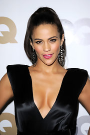 Paula Patton accessorized her black dress with a pair of diamond hoop earrings.