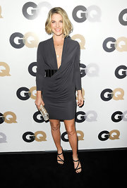 Ali Larter wore a draped gray knit dress to the GQ Men of the Year party.