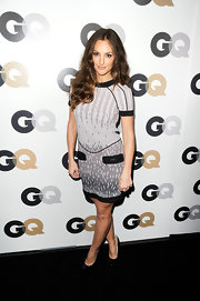Minka Kelly attended the GQ Men of the Year party in a graphic print dress with black accents.