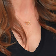 Jillian Michaels accessorized with a gold pendant necklace bearing her initials during the Los Angeles Times Festival of Books.