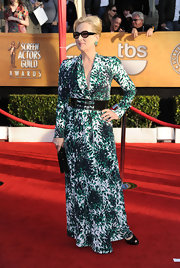 Meryl was a patterned beauty in a belted evening gown at the SAG Awards.