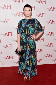 Ginnifer Goodwin was spring-glam at the AFI Awards in an L.K.Bennett floral maxi dress with flutter sleeves.