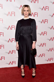 The actress topped off her look with strappy black Tamara Mellon 'Pistol' pumps.