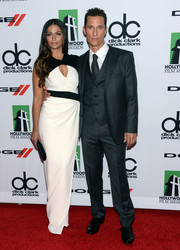 Camila Alves wowed at the Hollywood Film Awards in a black-and-white MaxMara gown with a cleavage-baring cutout.