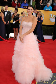 Angie looked like a princess in a frothy feathered blush ball gown at the SAG Awards.