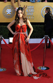 Mila donned a dramatic abstract print chiffon evening dress with a long train at the SAG Awards.