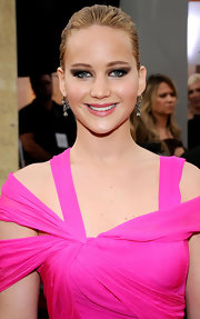 Jennifer Lawrence wore 18th Century rose-cut diamond pendant earrings to the 17th Annual SAG Awards.