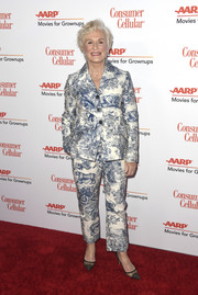 Glenn Close looked cool and chic in a printed pantsuit by Christian Dior at the 2019 Movies for Grownups Awards.