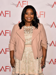 Octavia Spencer arrived for the 2018 AFI Awards wearing a nude leather moto jacket over a lace dress.