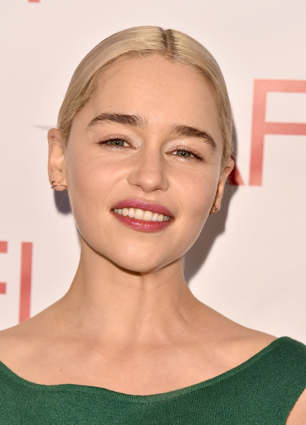 Emilia Clarke went for a simple center-parted bun when she attended the 2018 AFI Awards.