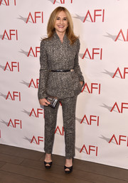 Holly Hunter looked sharp in a gray tweed pantsuit by Paule Ka at the 2018 AFI Awards.