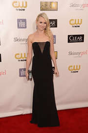 Naomi Watts' strapless black evening gown was a standout with a revealing mesh inset.