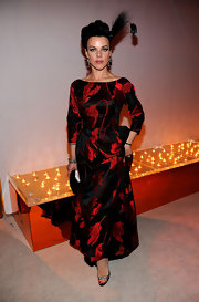 Debi dons a stunning black and red iridescent gown to the Elton John AIDS Foundation Party.