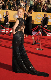 Jayma Mays relentlessly dazzled at the SAG Awards in a black sparkling gown with a sheer lace back.
