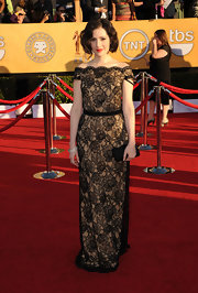 At the 2012 SAG Awards, Aleksa was beautiful on the red carpet wearing a black lace embroidered off-the-shoulder gown.