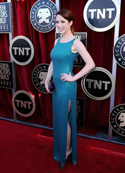 Karine looked fab at the SAG Awards in this bead plated aqua gown with a hip-high slit.