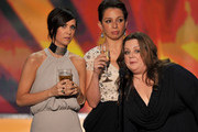 (L-R) Actresses Kristen Wiig, Maya Rudolph, and Melissa McCarthy speak onstage during the 18th Annual Screen Actors Guild Awards at The Shrine Auditorium on January 29, 2012 in Los Angeles, California.