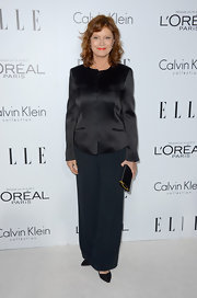 Susan Sarandon opted for a black silky top for a sleek and modern look.