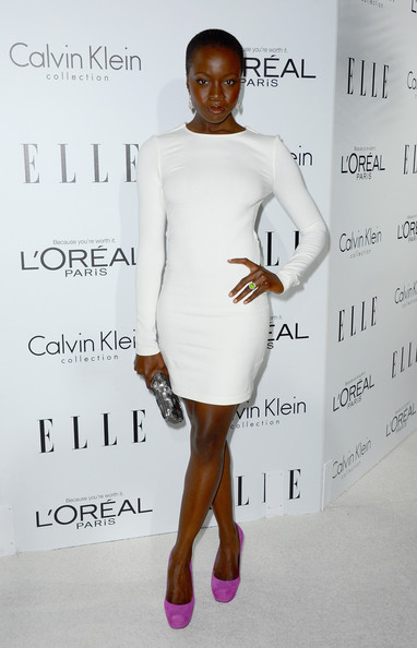 More Pics of Danai Gurira Buzzcut (1 of 4) - Danai Gurira Lookbook - StyleBistro [white,clothing,shoulder,dress,cocktail dress,fashion model,fashion,joint,hairstyle,fashion design,danai gurira,elle women in hollywood celebration - arrivals,beverly hills,california,four seasons hotel,elle,19th annual women in hollywood celebration]