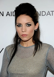 Skylar Grey wore simple stud earrings to accent her swept-up hairstyle.