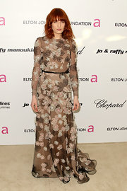 Florence was blooming at the Elton John Oscar party in an organza applique evening gown.