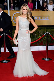 Katrina Bowden looked ethereal in this dove gray gown with a tulle mermaid hem on the SAG Awards red carpet.