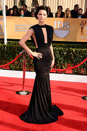Jaimie Alexander wasn't afraid to show some skin in this revealing black ruched number at the SAG Awards.