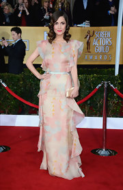 Rose Byrne looked lovely in this ruffled gown with muted pastel hues at the SAG Awards.