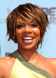 Wendy Raquel Robinson achieved a modern chic look with a layered razor cut.